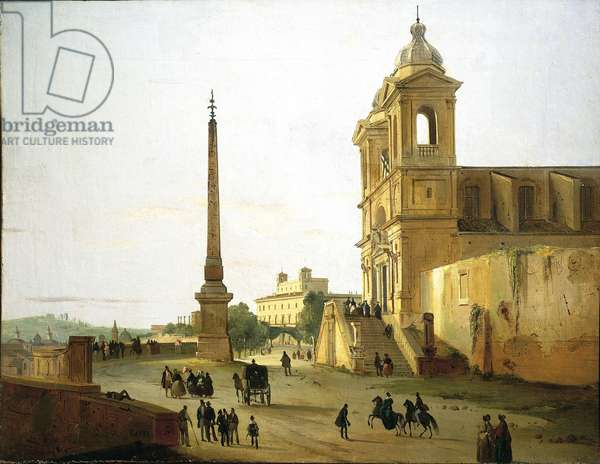 Italy, Rome, Trinity on Mount Church and Sallustian Obelisk by Ippolito Caffi