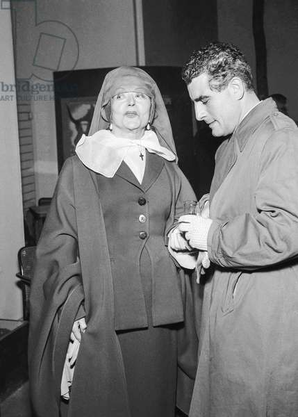 Actors Cecile Sorel and Jean Chevrier attending premiere of film