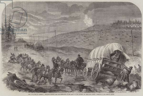 The Civil War in America, Baggage-Waggons and Gun-Carriages of the Army of the Potomac on the Move (engraving)