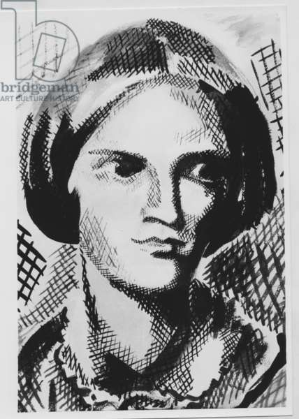Charlotte Bronte (1816-1855) English writer, drawing by M. Crepy