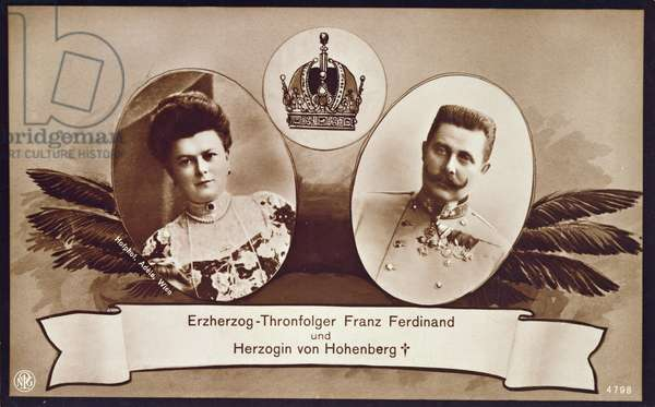 Archduke Franz Ferdinand of Austria, heir to the Austrian throne and his wife, Duchess of Hohenberg, 1914 (litho)