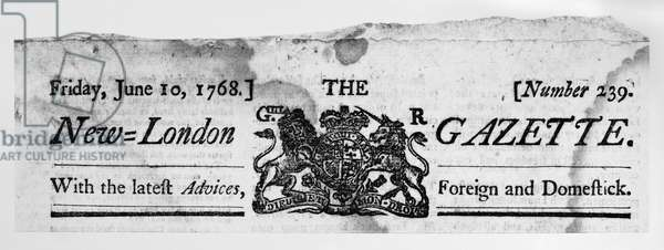 NEW-LONDON GAZETTE, 1768 Masthead of the New-London Gazette newspaper from New London, Connecticut, 1768.
