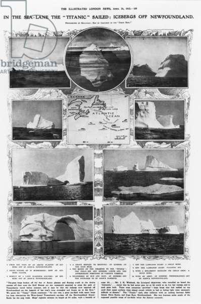 TITANIC: ICEBERGS, 1912 Icebergs off Newfoundland, where the