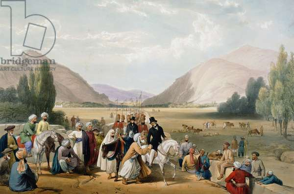 First Anglo-Afghan War 1838-42: Dost Mohammed Khan surrendering to William MacNaghten (1793-1841) taking his morning ride outside Cabul (Kabul). MacNaghten shot by Akbar Khan 23 December 1841. From J Atkinson Sketches in Afghanistan London 1842. Hand-coloured lithograph.