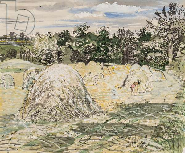 Harvest at Oliver's Farm, near Colchester, Essex, 1955 (ink, w/c & gouache on paper)