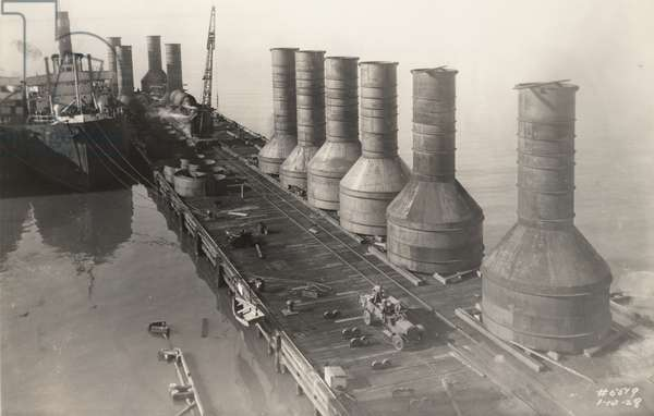 10 large caissons for the foundation of James River Bridge, 1928 (b/w photo)