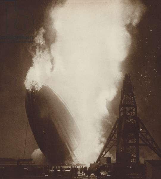 The Hindenburg airship disaster, Lakehurst, New Jersey, 1937 (b/w photo)