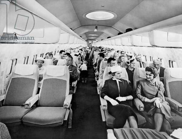 Model Of Boeing 707 Cabin (b/w photo)