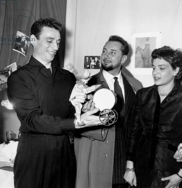 Yves Montand in his Dressing Room Congratulated By Pierre Brasseur, With Simone Signoret October 6, 1953 (b/w photo)