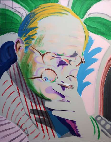 Hockney takes a Breather, 2013 (acrylic on canvas)