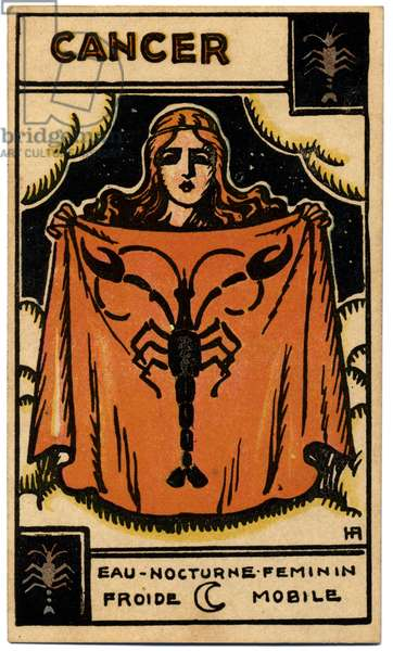 Paranormal. Astrology. Cancer (the Crab). Astrologic card from: Le Tarot Astrologique (Astrological Tarot), by Georges Muchery, France, 1927