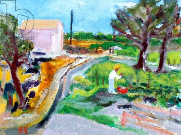 Tending the Vineyard, 2017, (oil on canvas)