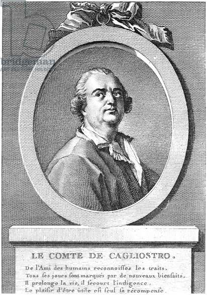 COUNT CAGLIOSTRO (1743-1795). Alessandro Conte di Cagliostro. Italian adventurer. Copper engraving, French, 18th century.