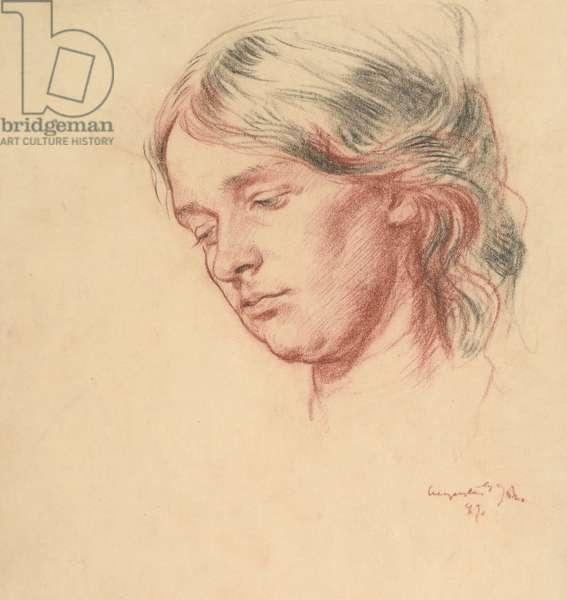 Portrait of Grace Westray, 1899 (red & black chalk on paper)