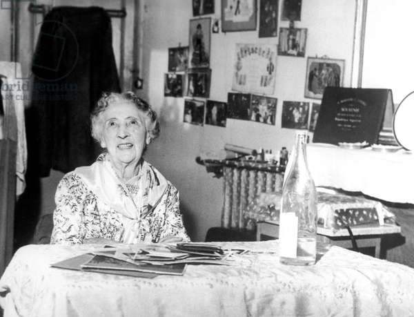 Caroline Otero Aka La Belle Otero (1868-1965) at Home in Nice October 1961 (b/w photo)