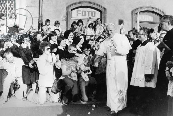 Pope John Paul Ii (Karol Wojtyla) in Poland in June 1979 (b/w photo)