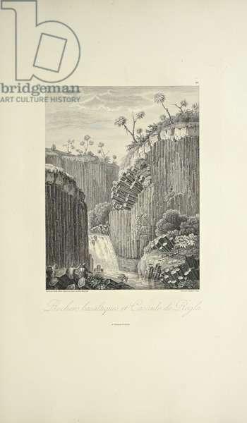 Basalt Rocks and the Cascade de Regla, drawn by Gmelin, engraved by Bouquet, illustration from 'Vues des Cordillères et Monumens des Peuples Indigènes de l'Amérique' by Alexander von Humboldt and Aime Bonpland, 1813 (engraving)
