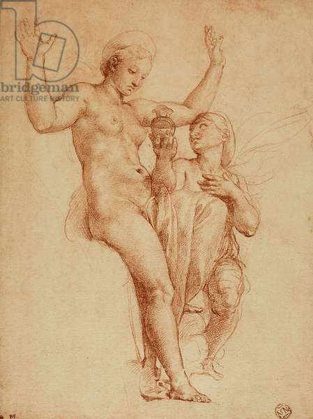 Psyche presents Venus with a jar containing water of the Styx; drawing by Raphael. The Louvre, Paris
