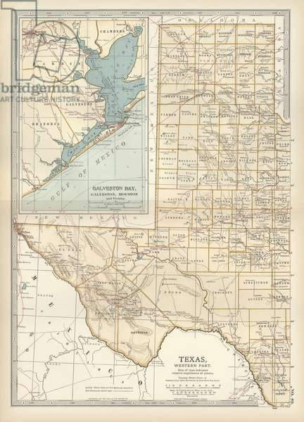Map of western Texas with Galveston