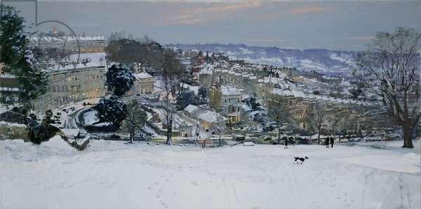 Twilight Snow from the Golf Course, Bath, 2013 (oil on canvas)