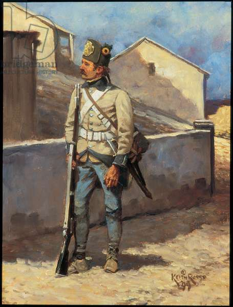 Hungarian Infantryman: Regiment Szatary, 1799, 1999 (oil on board)