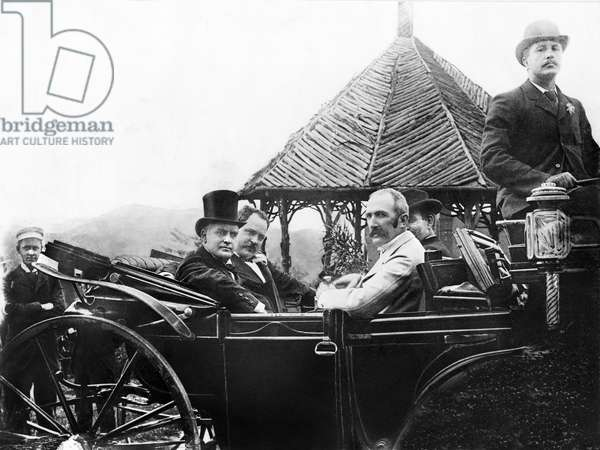 U.S. President William McKinley with Unidentified Group of Men in Open Carriage, Ashville, North Carolina, USA, 1897 (b/w photo)