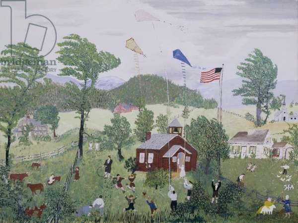 Flying Kites, 1951 (oil on pressed wood)