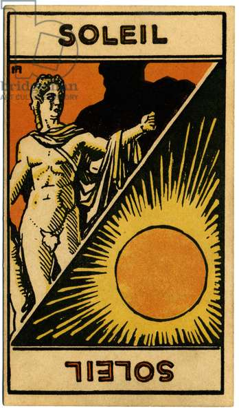 Paranormal. Astrology. The Sun (star). Astrologic card from: Le Tarot Astrologique (Astrological Tarot), by Georges Muchery, France, 1927