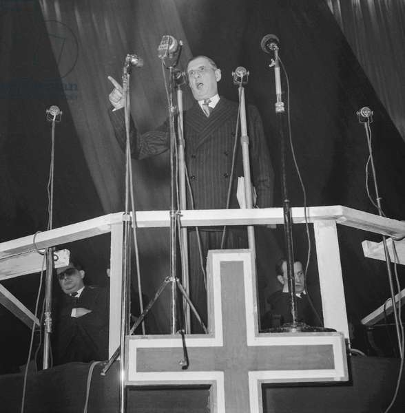 Meeting of Charles de Gaulle, leader of the RPF (Rassemblement du Peuple Francais) at the Vel d'Hiv (Velodrome d'Hiver) in Paris on February 11, 1950 (b/w photo)