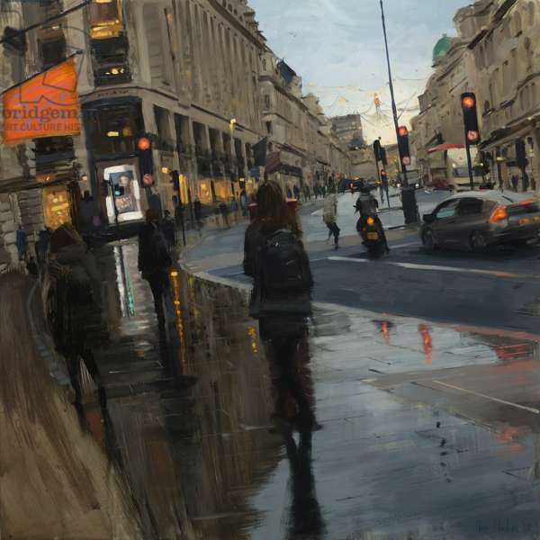 Regent Street in rain with Christmas lights, 2018, oil on canvas