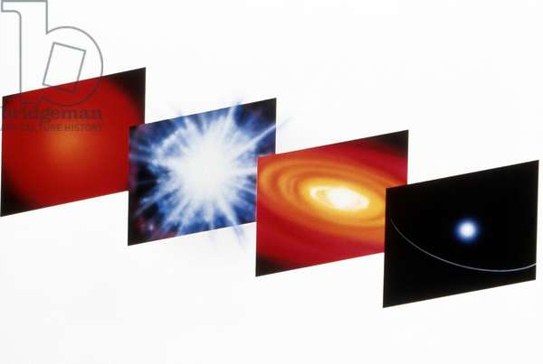 SPACE: PLANET FORMATION Illustrations showing the formation of a planet from a supernova explosion, by Dana Berry for NASA, c.1990.