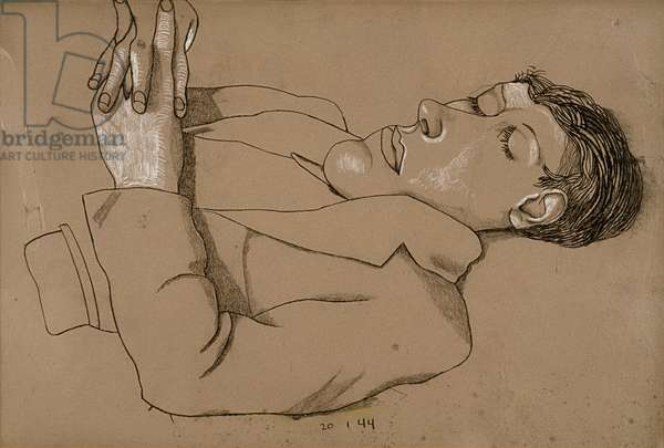 Man with hands folded, 1944 (conte & chalk on paper)