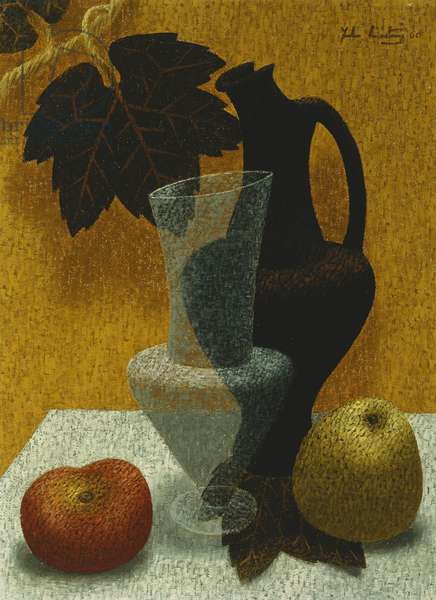 Still-Life with Vases and Fruit, 1960 (oil on canvas)