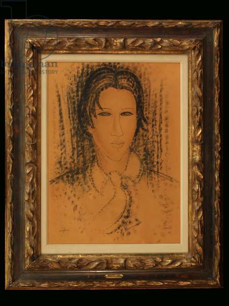 Portrait of Soutine (pen over chalk on paper)