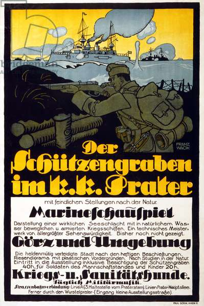 The Trench in the Prater, 1918 (colour litho)