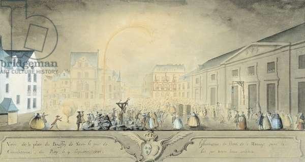 Celebrations for Louis XV's healing in Nantes September 9, 1744, France, 19th Century Print