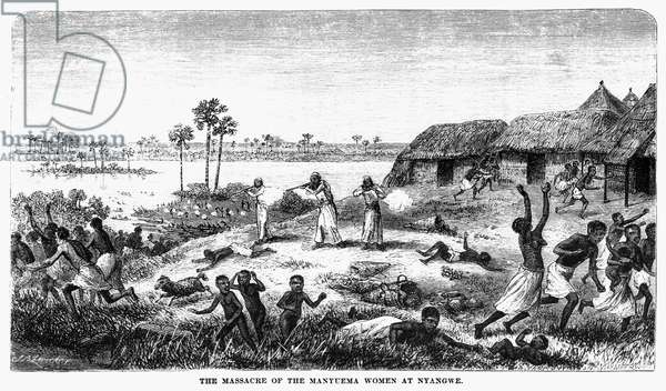 Manyema being massacred by Arab slave traders at a marketplace in Nyangwe, in the eastern Congo, 1871 (wood engraving)