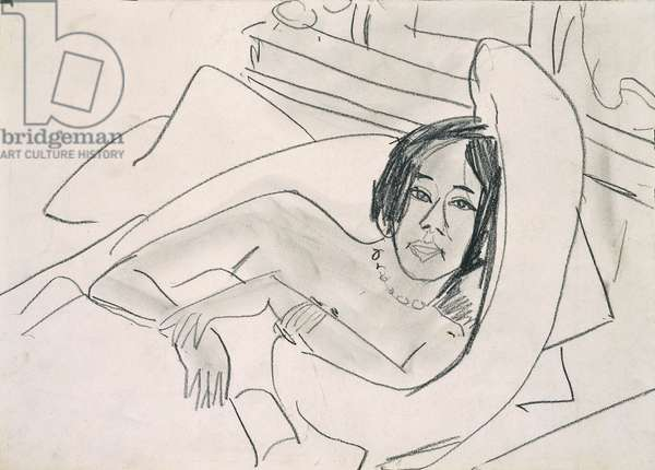 Woman nude (Nudo femminile), by Ernst Ludwig Kirchner, 19th Century, pencil on cardboard, 24 x 33 cm