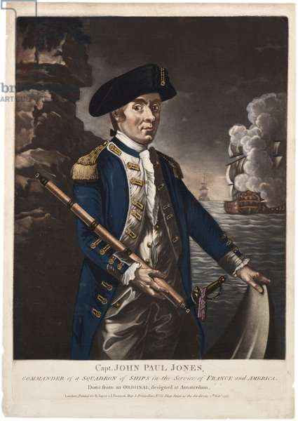 Captain John Paul Jones, Commander of a Squadron of Ships in the Service of France and America, 1780 (hand-coloured mezzotint)