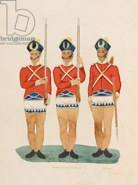 'Secure arms', infantry drill, India, 1814. (etching)