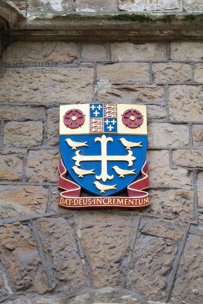 Coat of arms on the walls of Church House, Deans Yard, London, England
