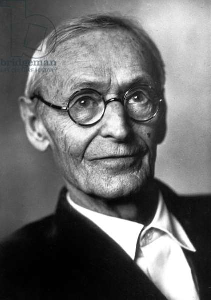 Hermann Hesse (1877-1962) german writer here in Montagnola (Switzerland) c. 1947 (b/w photo)