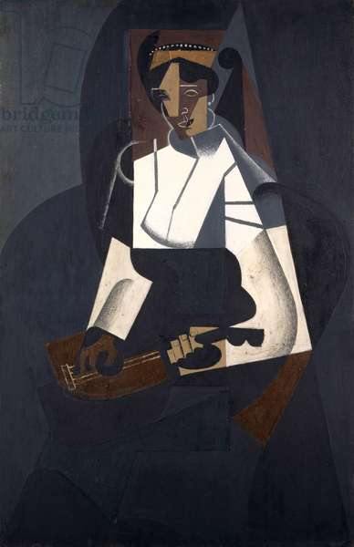 Woman with Mandolin, after Corot, 1916 (oil on plywood)