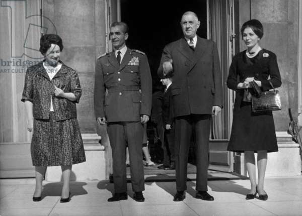 Shah of Iran Mohammad Reza Pahlavi and his Wife Empress (R) Farah Diba With French President Charles De Gaulle and his Wife Yvonne during Official Visit in Paris at Elysee, October 11, 1961 (b/w photo)