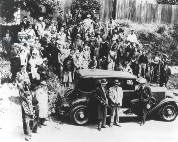 AL CAPONE (1899-1947) American (Italian born) gangster. Al Capone's 1928 bulletproof and bombproof Cadillac photographed in 1933.