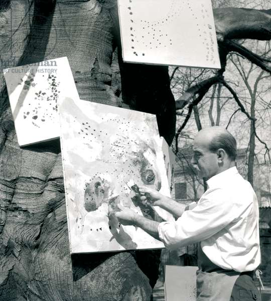 Lucio Fontana punches holes on a canvas hanging on the trunk of a tree, Milan, April 1955 (b/w photo)