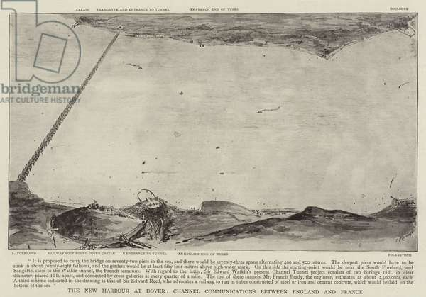 The New Harbour at Dover, Channel Communications between England and France (engraving)