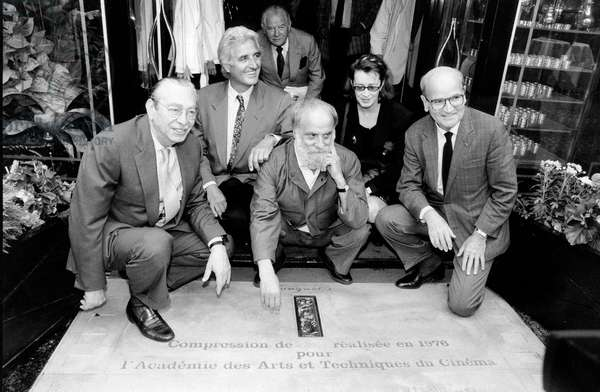 French Sculptor Cesar With Maurice Casanova, Jean-Loup Dabadie, Dominique Lavanant and Georges Cravenne Outside Fouquet'S Restaurant in Paris on Bronze Plate of Cesars of French Cinema (Award) June 28, 1990 (b/w photo)