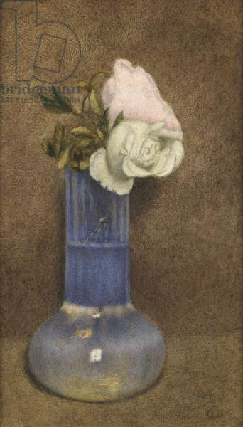 Still Life with Roses in a Vase (w/c on paper) (pair of 2956884)