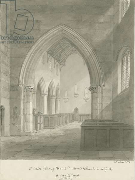 Lichfield - Interior of St. Michael's Church: sepia drawing, 1844 (drawing)